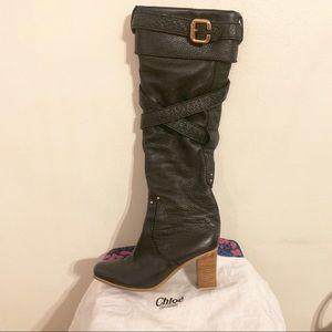 CHLOE paddington knee high leather boots size 9